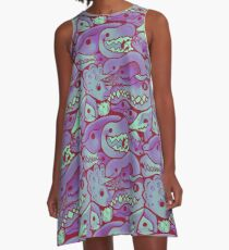 Dinosaur Pattern in purple A-Line Dress