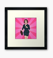 Business Woman. Happy Woman. Woman with Suitcase. Pop Art Banner. Successful Woman. Success in Business. Framed Print