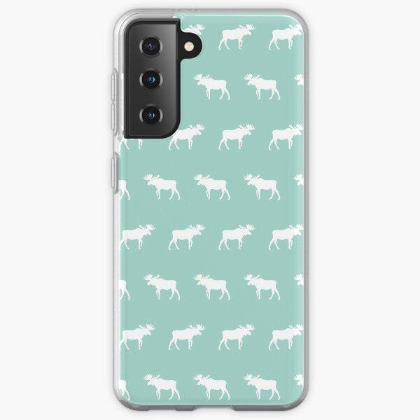 Moose mint minimal nursery baby art pattern design gender neutral home decor Samsung Galaxy Soft Case