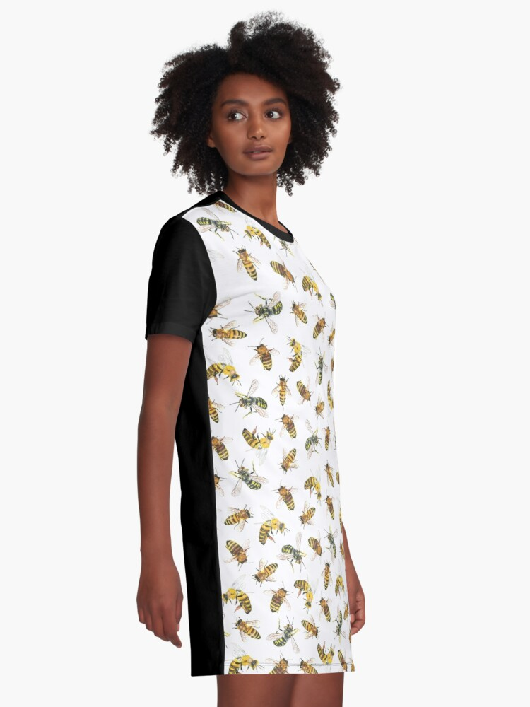 Alternate view of Honey to the Bee (White) Graphic T-Shirt Dress