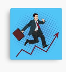 Successful Businessman. Career Growth. Success in Business. Man at Work. Businessman with Suitcase. Pop Art Banner Canvas Print