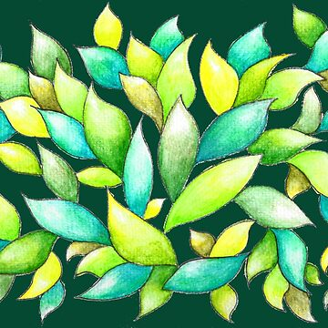 Green Leaves on Dark Green Ground by CarolineLembke