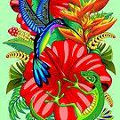 The Lizard, The Hummingbird and The Hibiscus by BluedarkArt