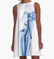 Blue Abstract Smoke A-Line Dress