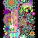 Mandalas, Cats & Flowers Fantasy Pattern  by BluedarkArt
