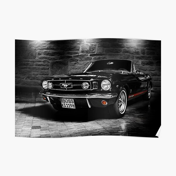 ford mustang cabriolet, blanco y negro Póster