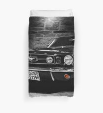 ford mustang cabriolet, black and white Duvet Cover