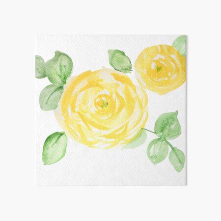 Watercolor yellow roses Art Board Print