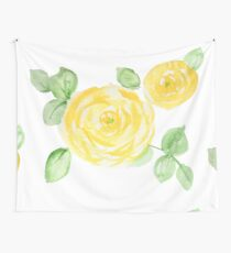 Watercolor yellow roses Wall Tapestry