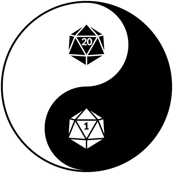 Yin Yang d20 Dungeons and Dragons Dice RPG Tee by Carl Huber