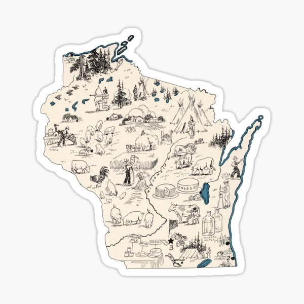 Wisconsin Vintage Picture Map Sticker