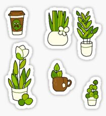 SET OF 8 plant and coffee stickers! Sticker
