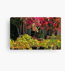 Patio Garden With Cascading Bougainvillea And Nasturtiums Canvas Print
