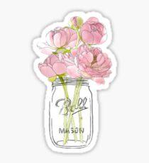 Blumen in Mason Jar Glänzender Sticker