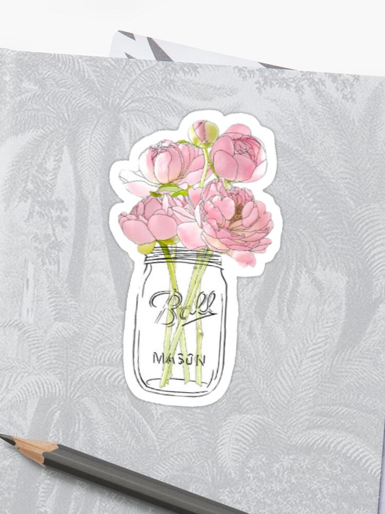Flowers In Mason Jar Sticker