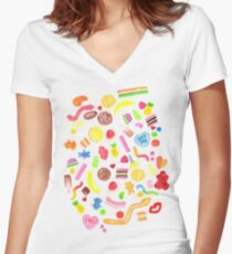 Mixed Lollies Women's Fitted V-Neck T-Shirt