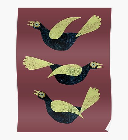 Three Blackbirds with green wings Poster