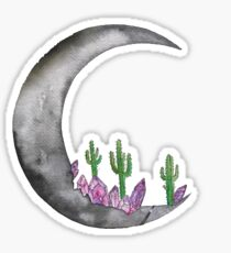moon and cacti Sticker