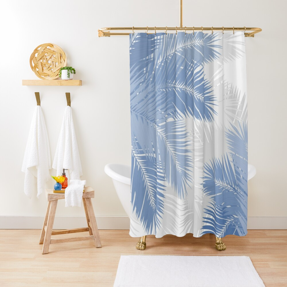 BLUE TROPICAL PALM LEAVES Shower Curtain