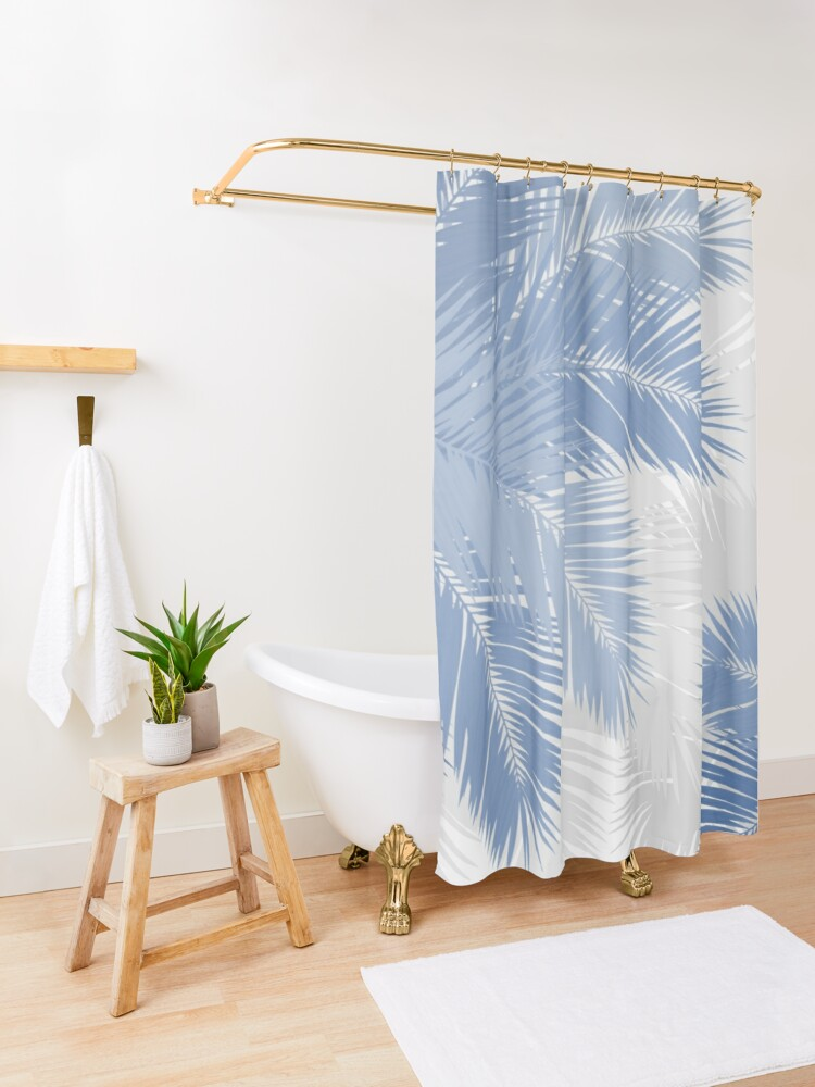 Alternate view of BLUE TROPICAL PALM LEAVES Shower Curtain