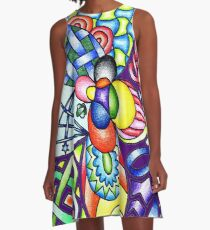 Rainbow Patterns Celtic and Geometric Drawing  A-Line Dress