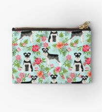Schnauzer hawaii pattern floral hibiscus floral flower pattern palm leaves by PetFriendly Zipper Pouch