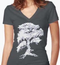 White Tree Tee Women's Fitted V-Neck T-Shirt