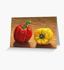 Red and Yellow Bell Peppers Greeting Card