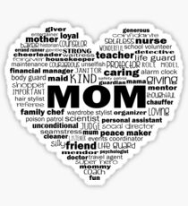 Mom - Words About Mom Heart Sticker
