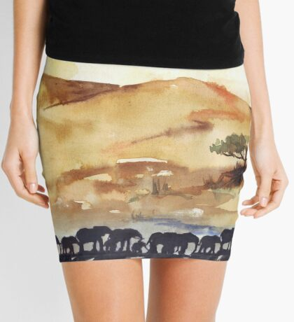 African Silhouettes Mini Skirt