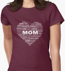 Mom - Words About Mom Heart - White Womens Fitted T-Shirt