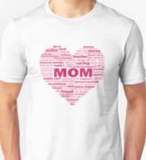 Mom - Words About Mom Heart Pink T-Shirt