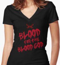 Khorne Chaos God Graffetti - Blood for the Blood God Women's Fitted V-Neck T-Shirt
