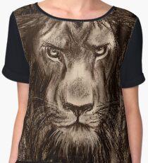 Lion - Charcoal drawing of a Lion Women's Chiffon Top