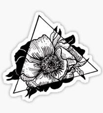 Black and White Flower Triangle Sticker