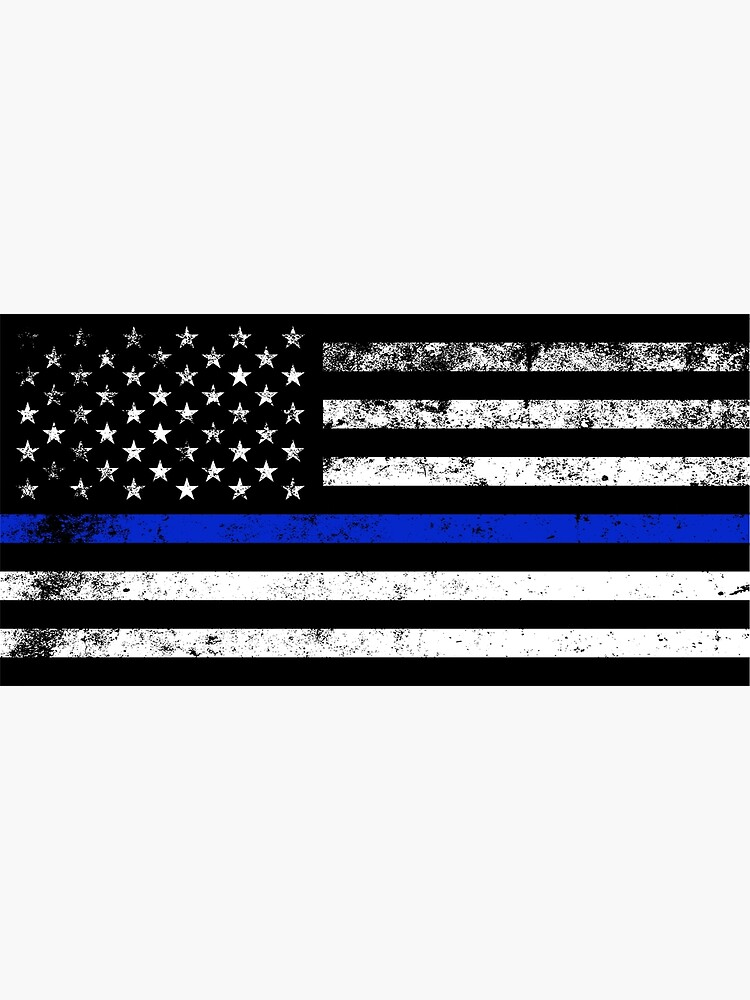 Police Styled Distressed Horizontal American Flag  by Cloud9hopper