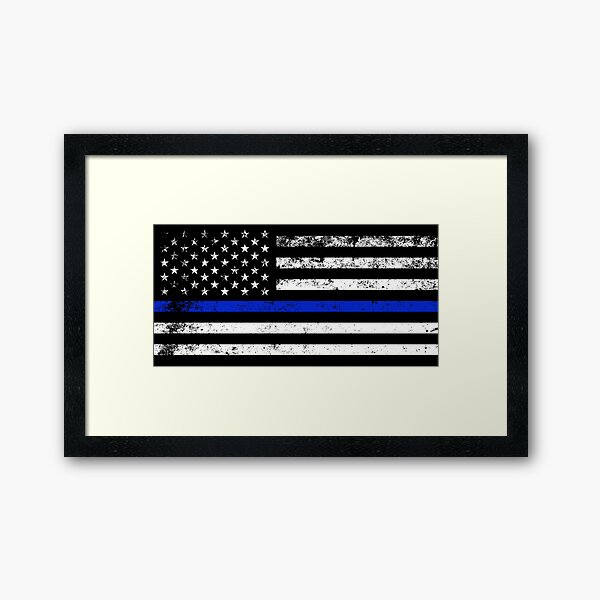 Police Styled Distressed Horizontal American Flag  Framed Art Print