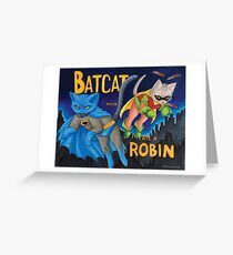 """BatCat"" and ""I ate a Robin"" Greeting Card"