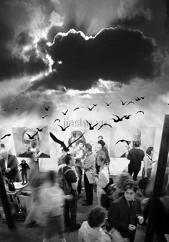 In dream-art exhibition, birds,people by jiashu xu