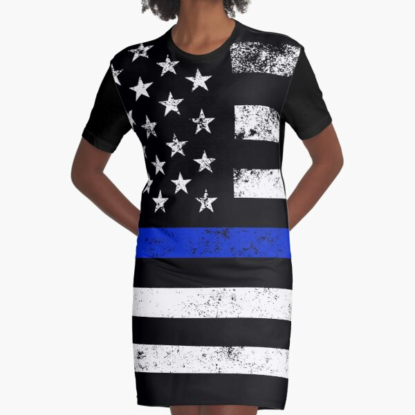 Police Styled Distressed Horizontal American Flag  Graphic T-Shirt Dress