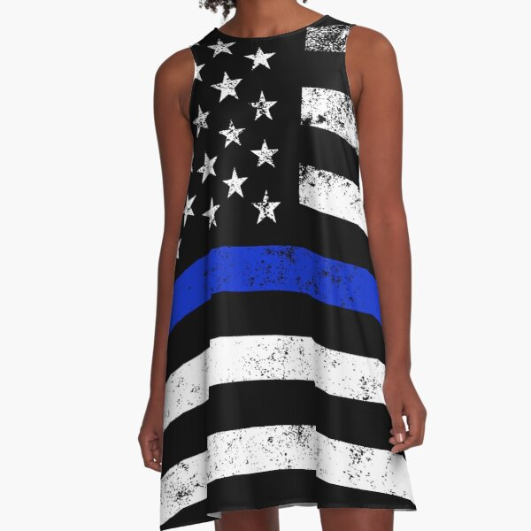 Police Styled Distressed Horizontal American Flag  A-Line Dress