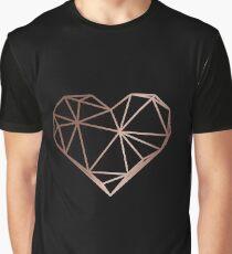 Rose Gold Geometric Heart Graphic T-Shirt