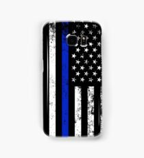Police Styled Distressed Vertical American Flag  Samsung Galaxy Case/Skin