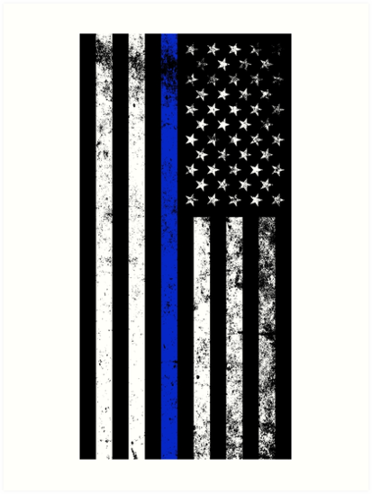 police styled distressed vertical american flag art prints by