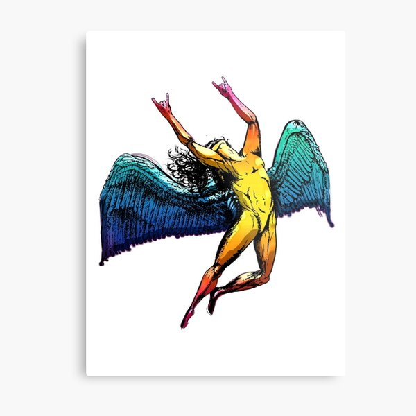 ICARUS THROWS THE HORNS - shiny ***FAV ICARUS GONE? SEE BELOW*** Metal Print