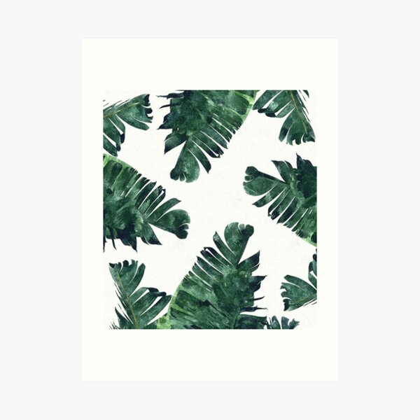 Banana Leaf #Watercolor Pattern #redbubble Art Print