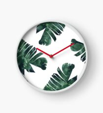 Banana Leaf #Watercolor Pattern #redbubble Clock
