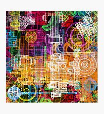 Cool colorful tech design Photographic Print