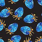 Blue Strawberry Pattern 2 by Losenko  Mila