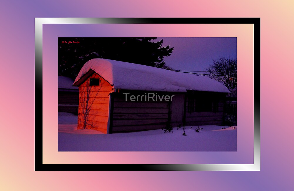 My snow shed pre-dawn by TerriRiver